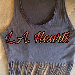 3 for $30/ LA Hearts Fringe Crop Top
